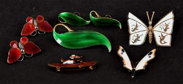 Group Of Vintage Enamel Jewelry