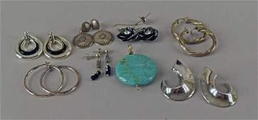 Group Of Sterling & Silvertone Earrings