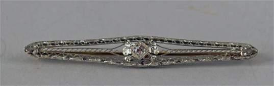 Victorian 14k White Gold And Diamond Bar Pin