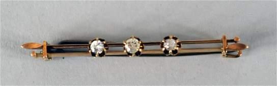 Victorian Diamond & 10k Rose Gold Bar Pin