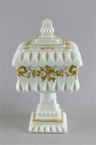 Westmoreland Gold Wedding Milk Glass Compote