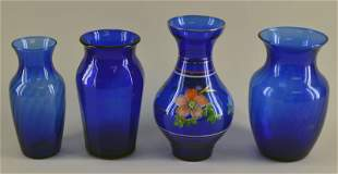 Collection Of Cobalt Blue Vases