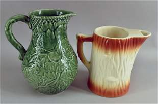Portugal Green Majolica Leaf Pitcher