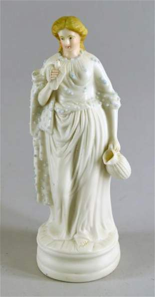 Bisque Porcelain Of A Woman With A Jug And Bird