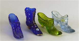 Four Fenton Art Glass Shoes And Boots