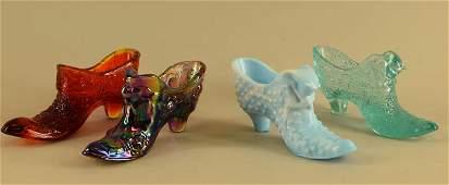 Four Fenton Glass Shoes