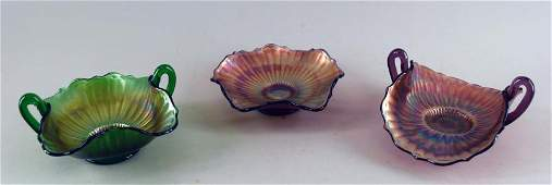 Northwood Stippled Rays Carnival Glass Bowls