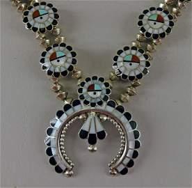 Zuni Sunface Inlaid Squash Blossom Necklace