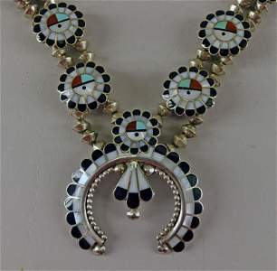 Zuni Sunface Inlaid Squash Blossom Necklace