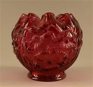 Fenton Cranberry Glass Poppy Rose Bowl