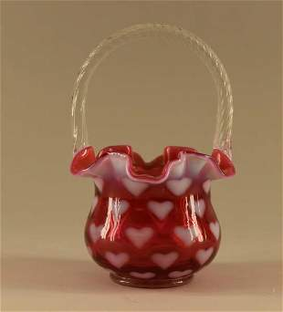 Fenton Cranberry Opalescent Heart Basket