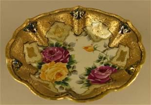 Nippon Gold Encrusted Moriage H. P. Roses Bowl