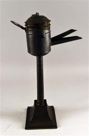 Early Tin Spout Lamp
