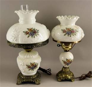 Two White And Painted Roses Contemporary Lamps