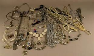 A Large Group Of Silvertone Costume Jewelry