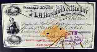 1881 L H Hershfield & Brother Bank Check