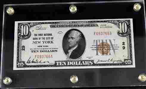 1929 $10 National Currency New York