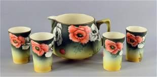 Royal Nippon Lemonade Pitcher And 4 Cups.