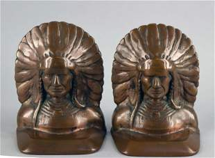 Mixed Metal Indian Head Book Ends