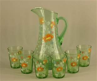 Victorian Hand Painted Pitcher And Glasses