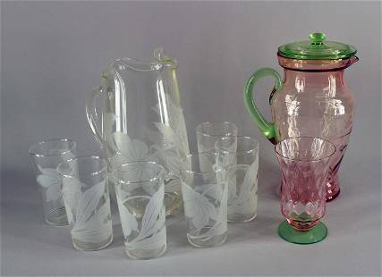One Depression Glass Pitcher And One Glass