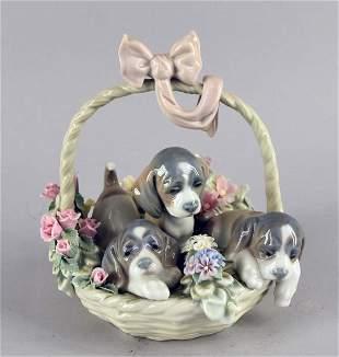 Lladro Basket Of Puppies