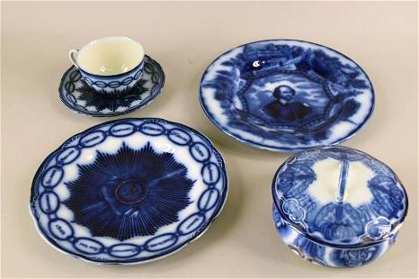 Collection Of Flow Blue Dishes