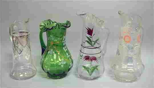 A Group Of Victorian Painted Pitchers