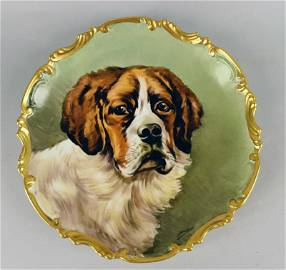 Limoges Hand Painted St, Bernard Charger