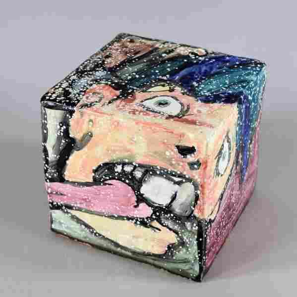 Contemporary Enamel Cube Sculpture