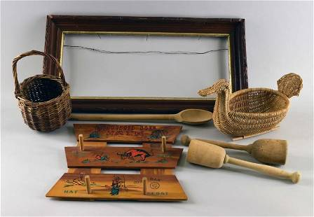 A Group Of Wood Decorative Items