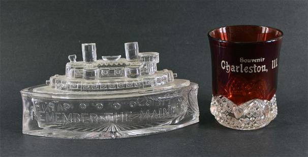 Remember The Maine Pressed Glass Candy Dish