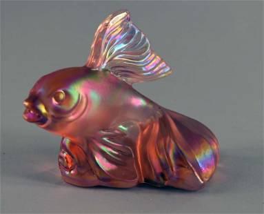 Fenton Pink Irridescent Fish Figurine