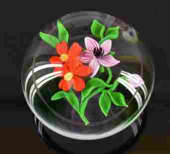 Victor Trabucco 1984 Floral Art Glass Paperweight