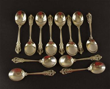 12 Wallace Grand Baroque Stering Bullion Spoons