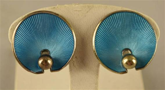 Sterling Blue Enameled Norway Anchor Hallmark