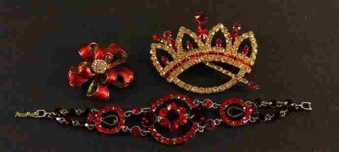 Red Rhinestone Bracelet And Pins