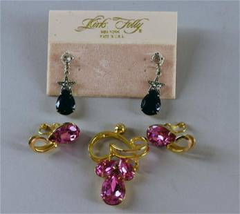 Kirk's Folly Marcasite And Black Drop Earrings
