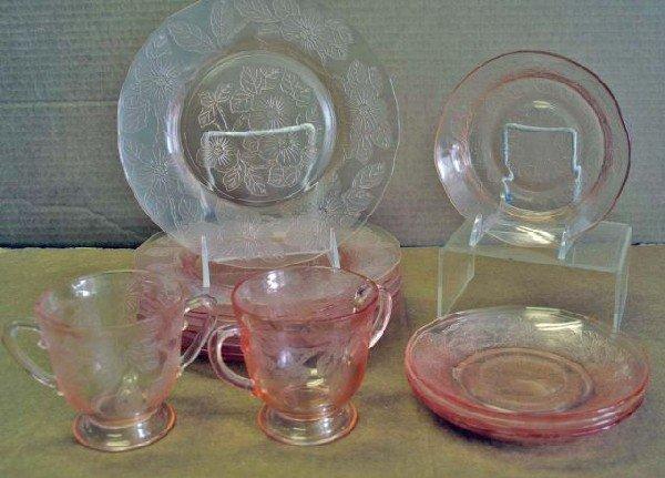17: Pink Depression Glass Dogwood