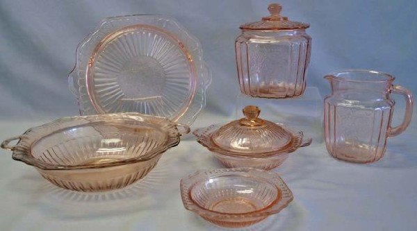 23: Collection of Pink Mayfair Depression Glass