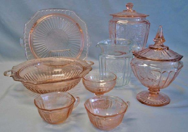 24: Collection of Pink Mayfair Depression Glass
