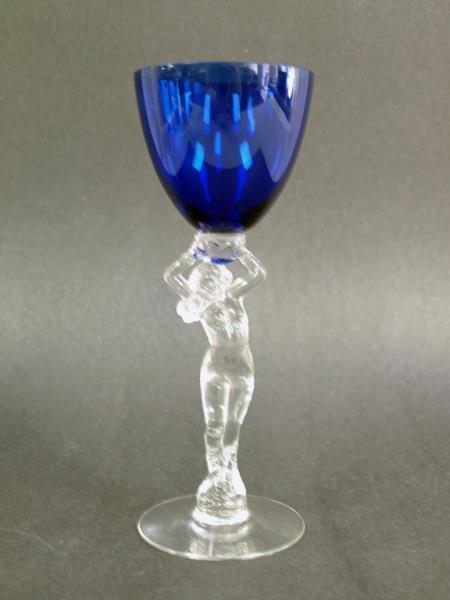 Cambridge Nude Stem Wine Glass Cobalt Bowl