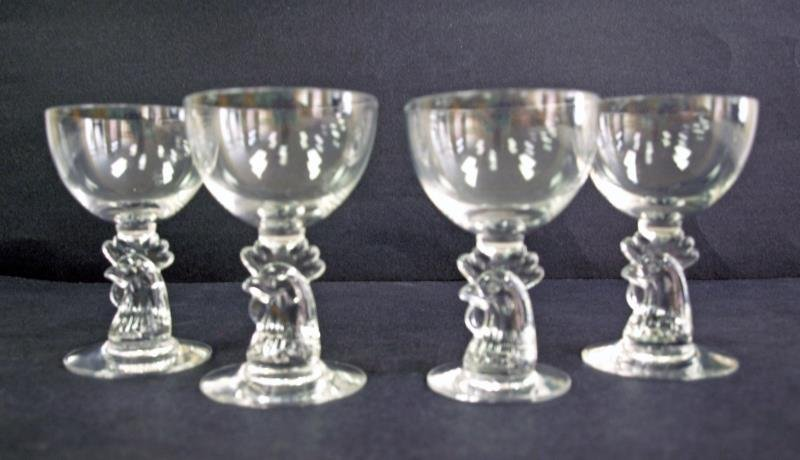 Heisey Rooster Head Goblets (4)