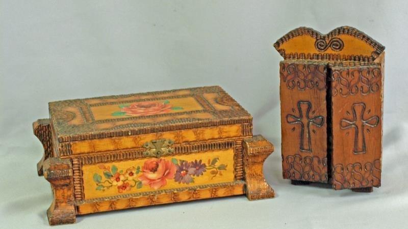 Two Tramp Art boxes