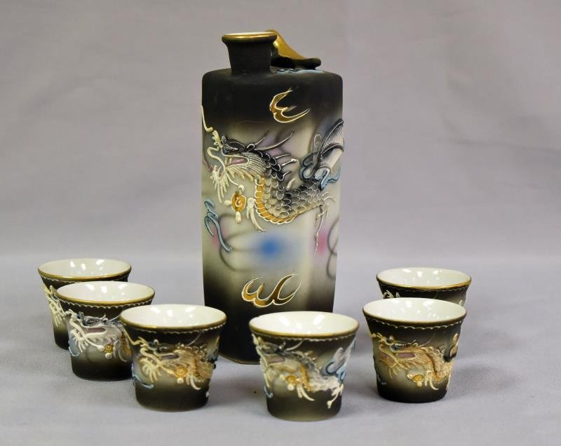 Vintage Moriage Dragon Sake Set