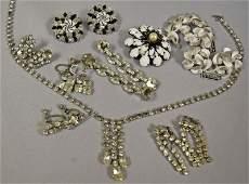 Group of Rhinestone & Silver Tone Jewelry