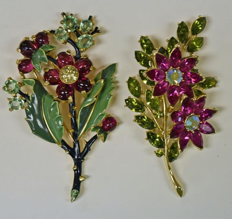 Vintage Trifari Floral Rhinestone Pins or Brooches