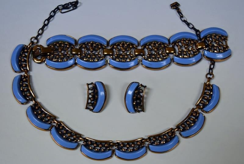 Mid-Century Copper and Blue Demi-Parure Set