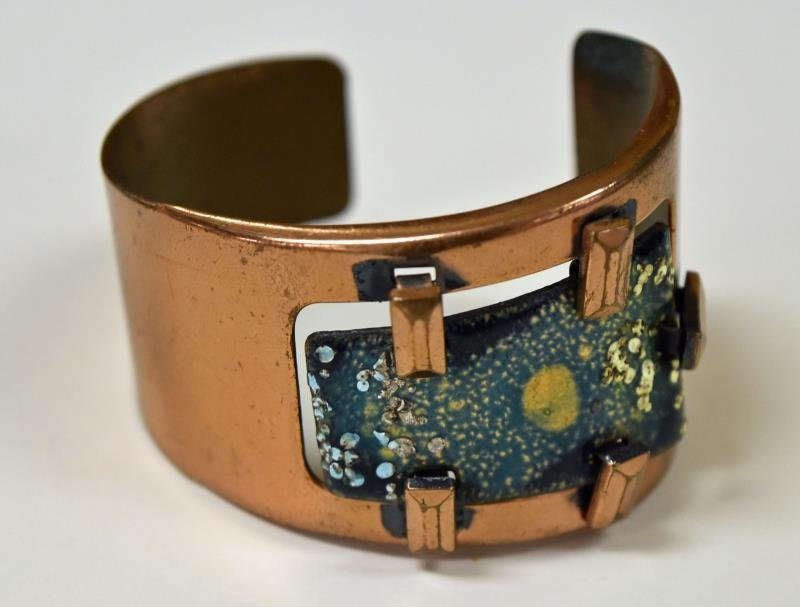 Mid-Century Copper and Biomorphic Enamel Bracelet