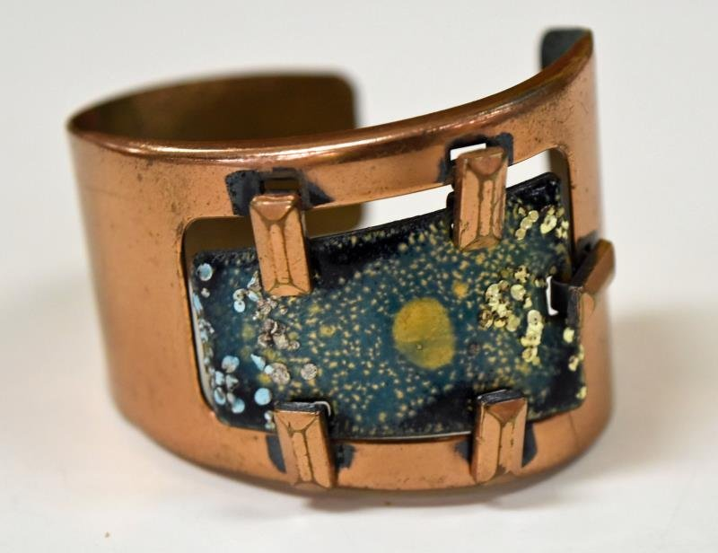 Mid-Century Copper and Biomorphic Enamel Bracelet - 2